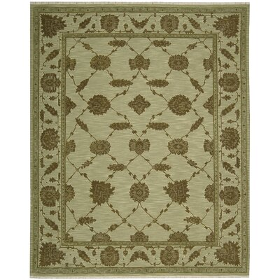 Silk Pointe Hand-Woven Green Area Rug Rug Size: 510 x 810