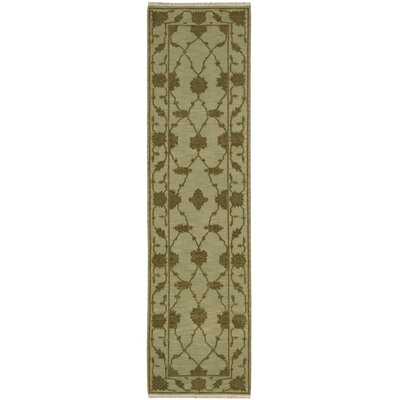 Silk Pointe Hand-Woven Green Area Rug Rug Size: Runner 26 x 10