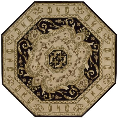 Versaille Palace Black Rug Rug Size: Octagon 6