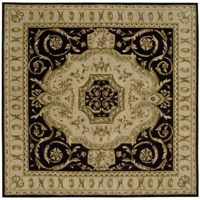 Versaille Palace Black Rug Rug Size: Square 8