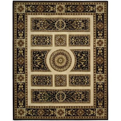 Versaille Palace Ivory/Black Rug Rug Size: 76 x 96