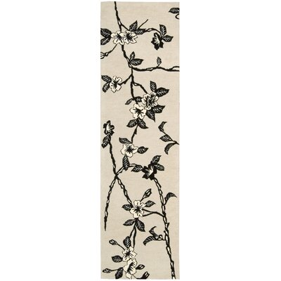 Dupoint Hand-Tufted Black/White Area Rug Rug Size: Runner 23 x 8
