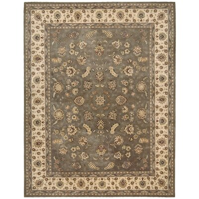 Nourison Hand Woven Wool Olive Indoor Area Rug Rug Size: 86 x 116