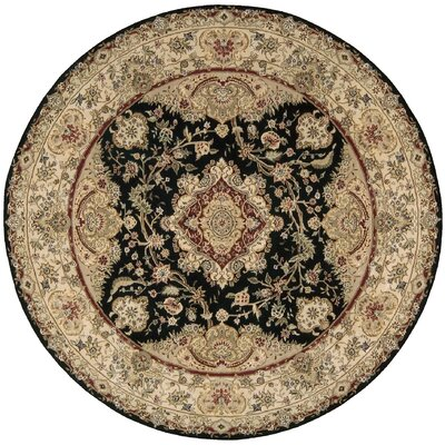 Nourison 2000 Hand Woven Wool Black/Tan Indoor Area Rug Rug Size: Round 4