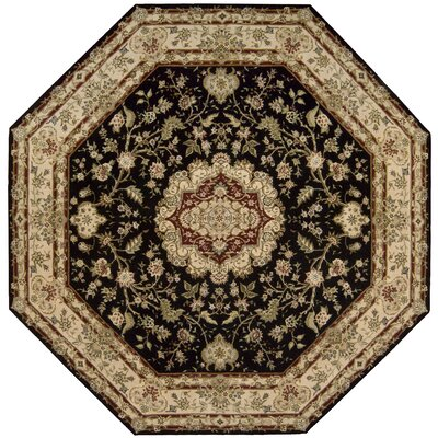 Nourison 2000 Hand Woven Wool Black/Tan Indoor Area Rug Rug Size: Octagon 10