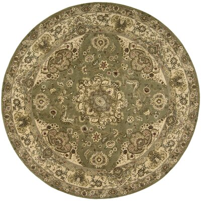 Nourison 2000 Hand Woven Wool Olive Indoor Area Rug Rug Size: Round 4