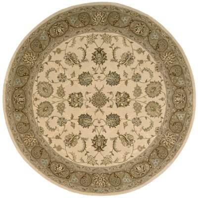 Nourison Hand Woven Wool Ivory Indoor Area Rug Rug Size: Round 6