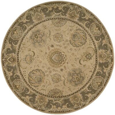 Chandrine Hand Woven Wool Light Gold Indoor Area Rug Rug Size: Round 8