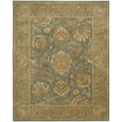 Nourison 2000 Hand Woven Wool Blue/Tan Indoor Area Rug Rug Size: 79 x 99
