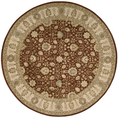 Nourison 3000 Hand-Tufted Rust Area Rug Rug Size: Round 8