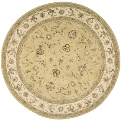 Nourison Yellow Area Rug Rug Size: Round 6