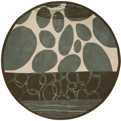 Dimensions Blue/Brown Area Rug Rug Size: Round 59