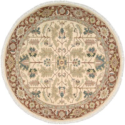 Pierson Hand-Woven Light gold/Cinnabar Area Rug Rug Size: Round 8