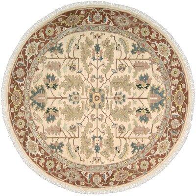 Nourmak Hand-Woven Light gold/Cinnabar Area Rug Rug Size: Round 8