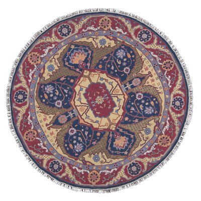Nourmak Hand-Woven Red/Blue Area Rug Rug Size: Round 8