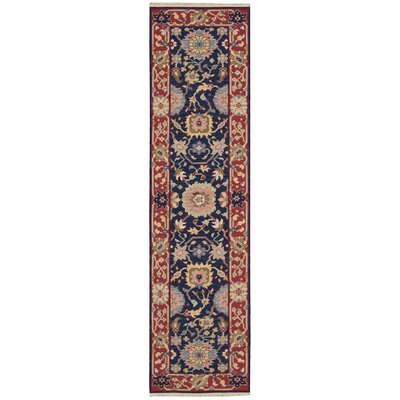 Pierson Hand-Woven Navy/Red Area Rug Rug Size: Runner 26 x 10