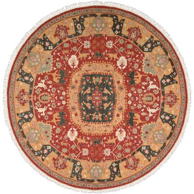 Nourmak Hand-Woven Red/Orange Area Rug Rug Size: Round 8