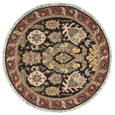 Pierson Hand-Woven Red/Black Area Rug Rug Size: Round 8