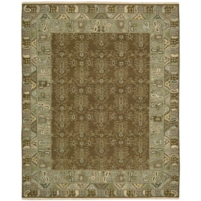 Pierson Hand-Woven Green/Cream Area Rug Rug Size: 510 x 810