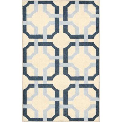 Charlton Home Swarthmore Cream/Blue Area Rug