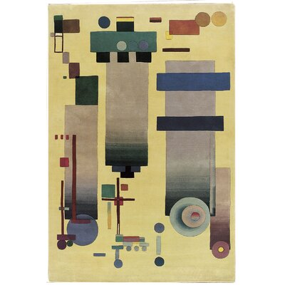 Guggen. Modern Art Hand-Tufted Light Gold Area Rug