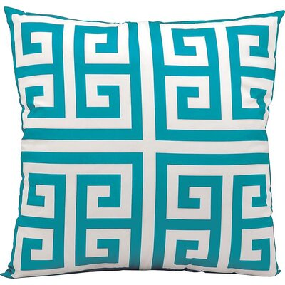 Geometric Faux Silk Outdoor Throw Pillow Color: Turquoise