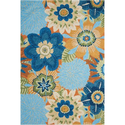 Hae Aqua Indoor/Outdoor Area Rug Rug Size: Rectangle 5 x 76
