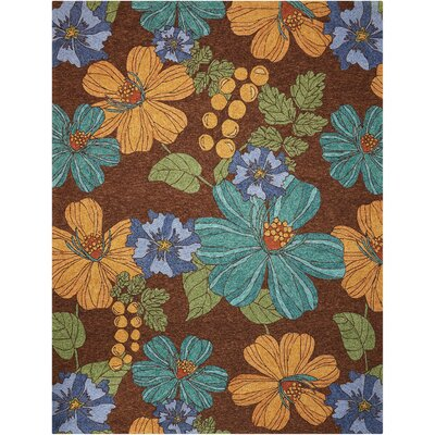 South Beach Hand-Woven Brown/Green/Orange Indoor/Outdoor Area Rug Rug Size: 8 x 106