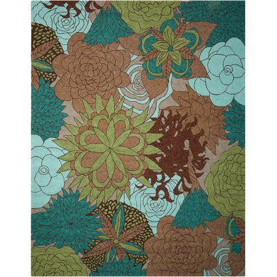 Marcene Hand-Woven Blue/Green/Brown Indoor/Outdoor Area Rug Rug Size: Rectangle 10 x 13