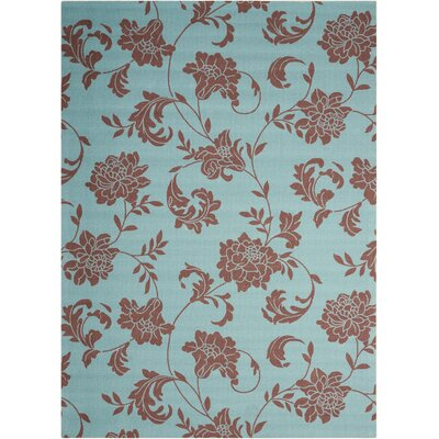 Sigel Light Blue/Brown Indoor/Outdoor Area Rug Rug Size: 53 x 75