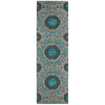 Siam Hand-Tufted Grey/Teal Area Rug Rug Size: Runner 23 x 76