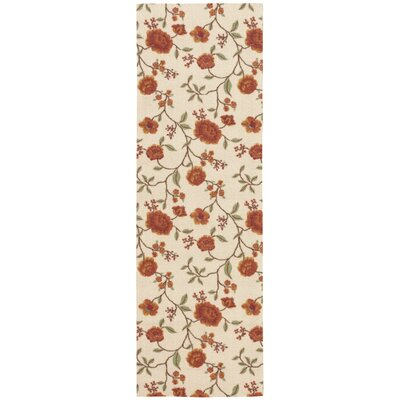 Burnside Ivory Floral and Plants Area Rug Rug Size: Runner 26 x 8