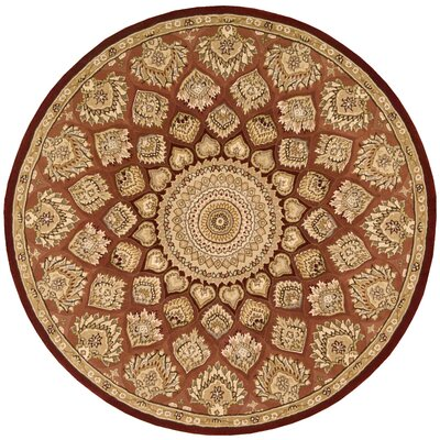 Nourison Hand Woven Wool Brown Indoor Area Rug Rug Size: Round 4'