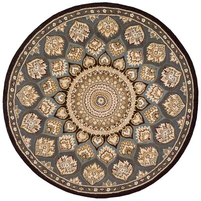 Nourison Hand-Tufted Slate/Beige Area Rug Rug Size: Round 4