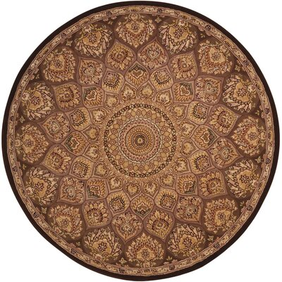 Nourison Hand-Tufted Brown Area Rug Rug Size: Round 4