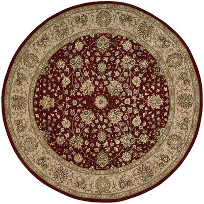 Ellerswick Hand Woven Wool Burgundy/Tan Indoor Area Rug Rug Size: Round 4