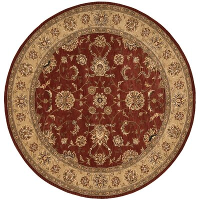 Ellerswick Hand Woven Wool Beige/Red Indoor Area Rug Rug Size: Round 4