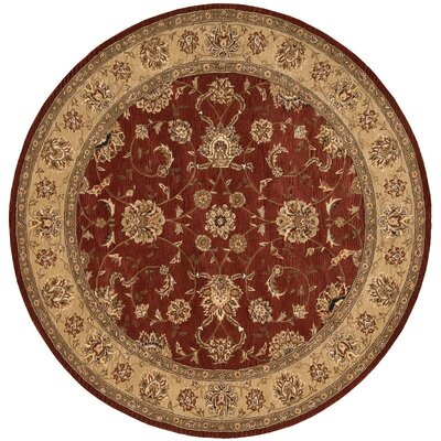 Ellerswick Hand Woven Wool Beige/Red Indoor Area Rug Rug Size: Round 8