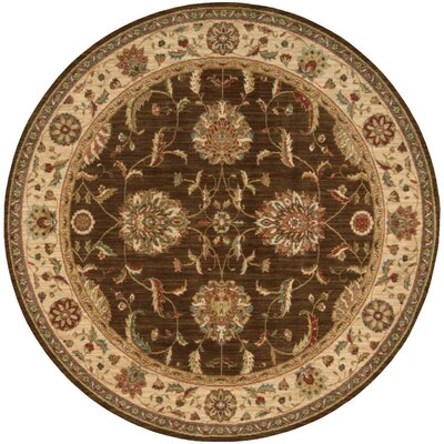 Living Treasures Brown Area Rug Rug Size: Round 710
