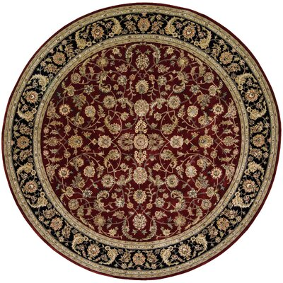Ellerswick Hand Woven Wool Red/Green Indoor Area Rug Rug Size: Round 4
