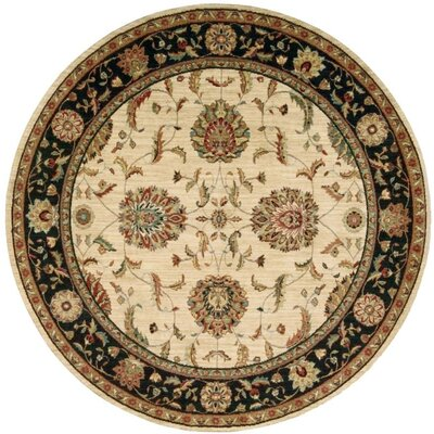 Crownover Wool Ivory/Black Indoor Area Rug Rug Size: Round 710