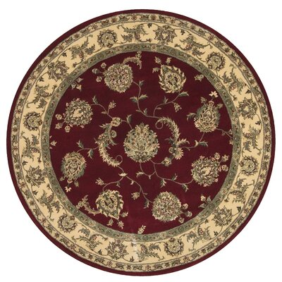 2000 Hand Woven Wool Red/Ivory Indoor Area Rug Rug Size: Round 4
