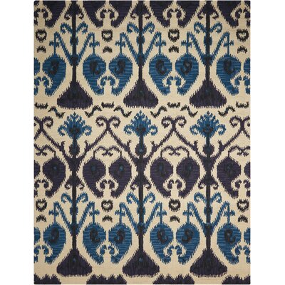 Siam Hand-Tufted Beige/Blue Area Rug Rug Size: 36 x 56