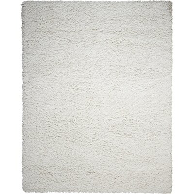 Zen Shag Hand-Woven White Area Rug Rug Size: 36 x 56