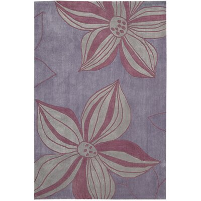 Gideon Hand-Tufted Violet Area Rug Rug Size: Rectangle 36 x 56
