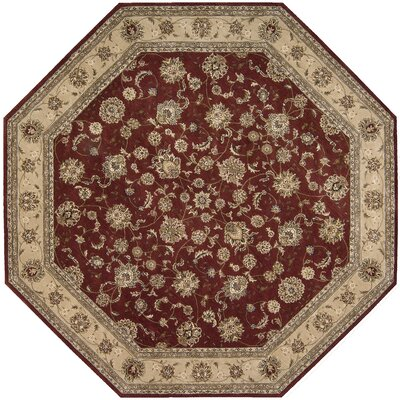 Ellerswick Hand Woven Wool Beige/Red Indoor Area Rug Rug Size: Octagon 10
