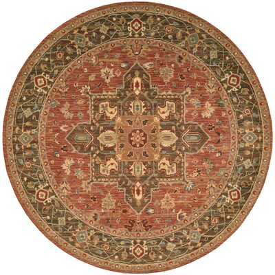 Crownover Rust Area Rug Rug Size: Round 510