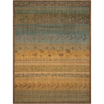 Radiant Impressions Blue/Brown Area Rug Rug Size: 56 x 75