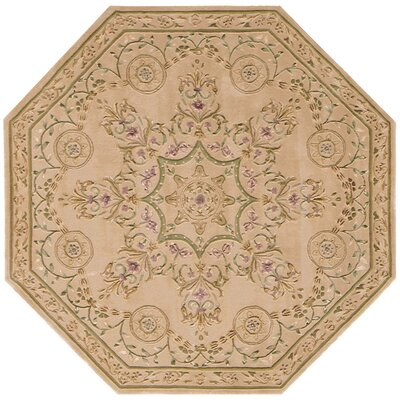 Versailles Palace Hand-Tufted Brown/Tan Area Rug Rug Size: Octagon 6