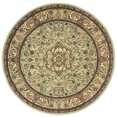 2000 Hand Woven Wool Cream/Pale Leaf Green Indoor Area Rug Rug Size: Round 6